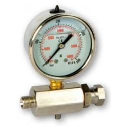 Přívod z nerezové oceli s tlakoměrem MF 16x1,5